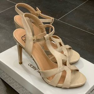 Nude Stiletto Sandals, Size 9